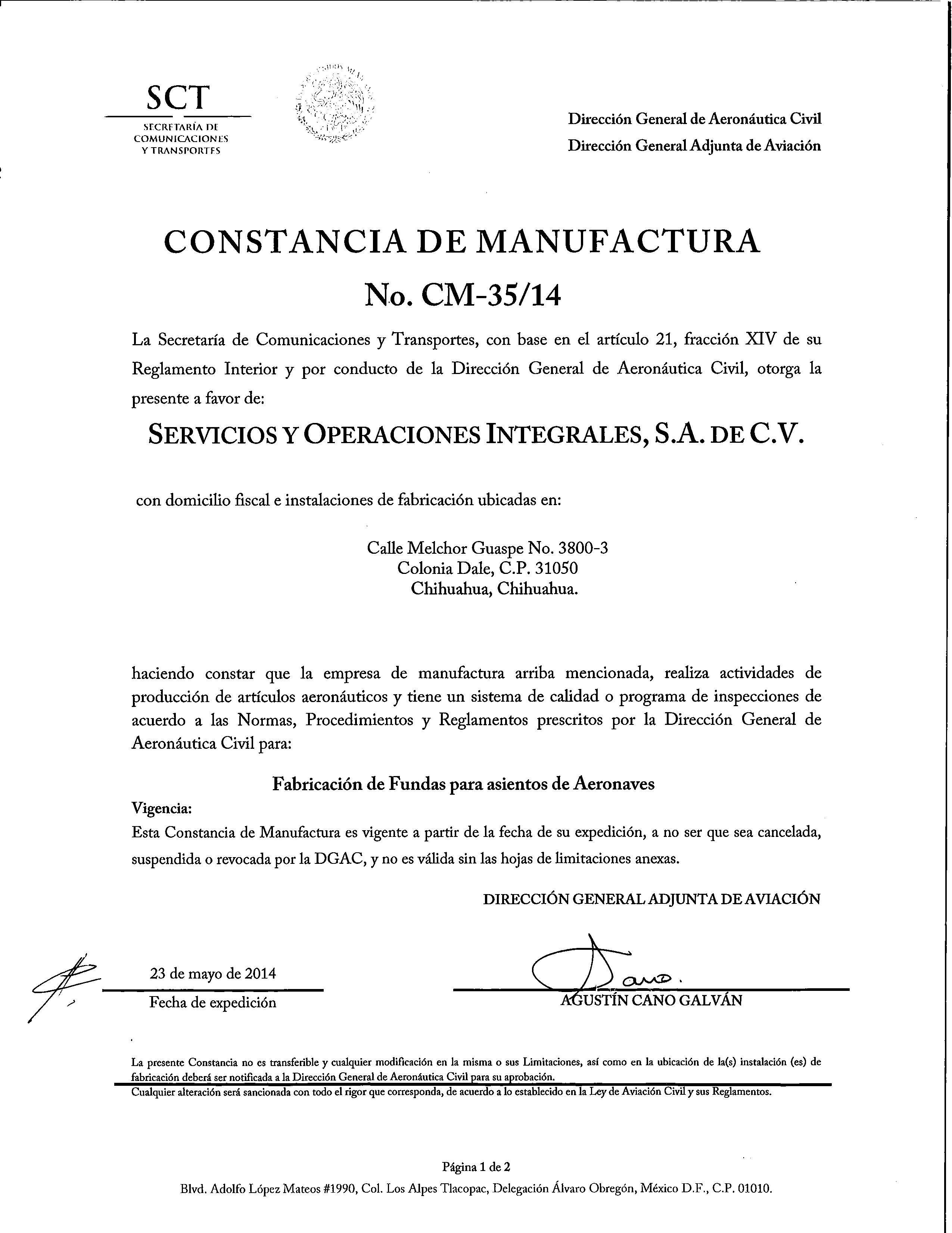 CONSTANCIA DE MANUFACTURA DGAC2014-1